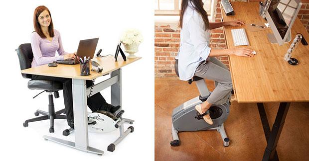 โต๊ะทำงานที่ทำงานและปั่นจักรยานไปพร้อมๆกันได้