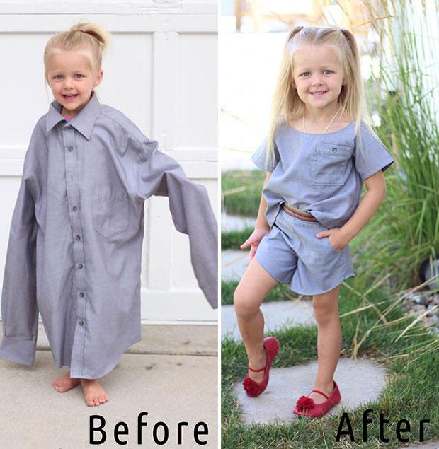 คุณแม่เปลี่ยนเสื้อเชิ้ตเก่าของสามีเป็นชุดสำหรับลูกสาว