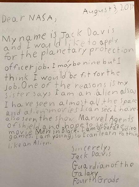 จดหมายสมัครงานไปที่นาซ่าของเด็ก 9 ปี