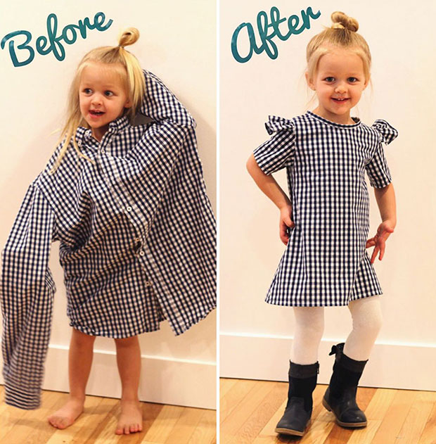 ตัดชุดลูกสาวจากเสื้อเชิ้ตของคุณพ่อ