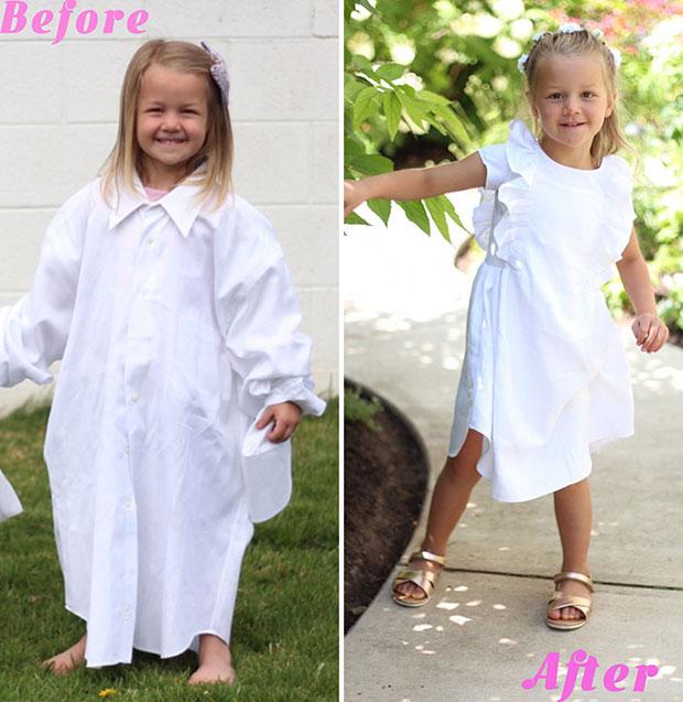 เปลี่ยนเสื้อเชิ้ตเก่าคุณพ่อเป็นชุดสำหรับลูกสาว