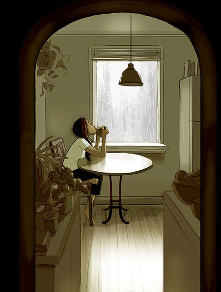 ภาพวาดสื่อถึงการอยู่คนเดียว