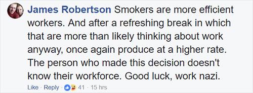 ไม่ยุติธรรมสำหรับผู้ที่สูบบุหรี่