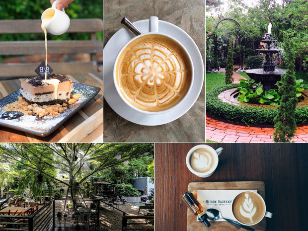 ร้านกาแฟแสนสบายในสวนสวย