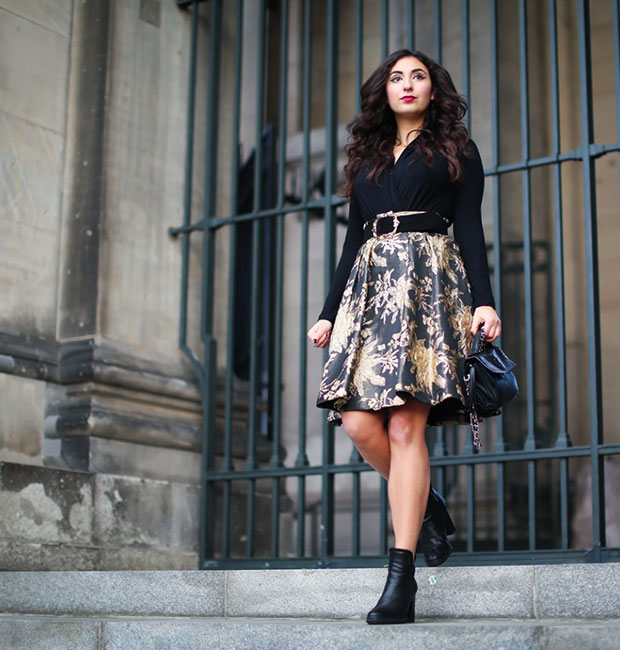 เสื้อ Madeleine Jacquard, กระโปรง Madeleine Jacquard, กระเป๋า Adax, รองเท้าบู๊ท Peprosa