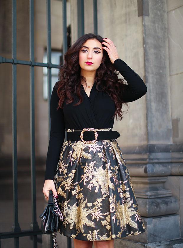 เสื้อ Madeleine Jacquard, กระโปรง Madeleine Jacquard, รองเท้าบู๊ท Peprosa, กระเป๋า Adax