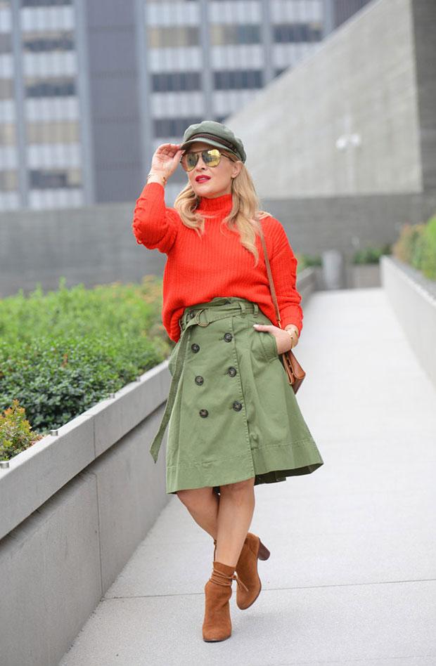 Asos Sweater, J. Crew Skirt, Pour La Victoire Boots, Hammitt La Bag, Quay Sunglasses, Brixton Cap