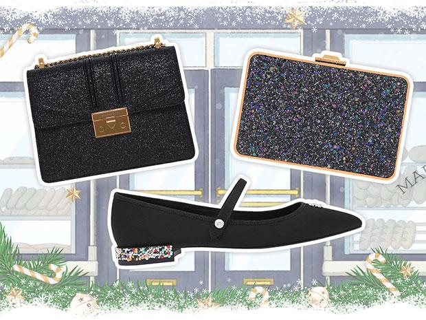 CHARLES & KEITH กระเป๋าสีดำ รองเท้าสีดำ