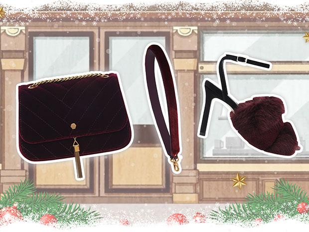 CHARLES & KEITH กระเป๋าสีแดง รองเท้าสีแดง