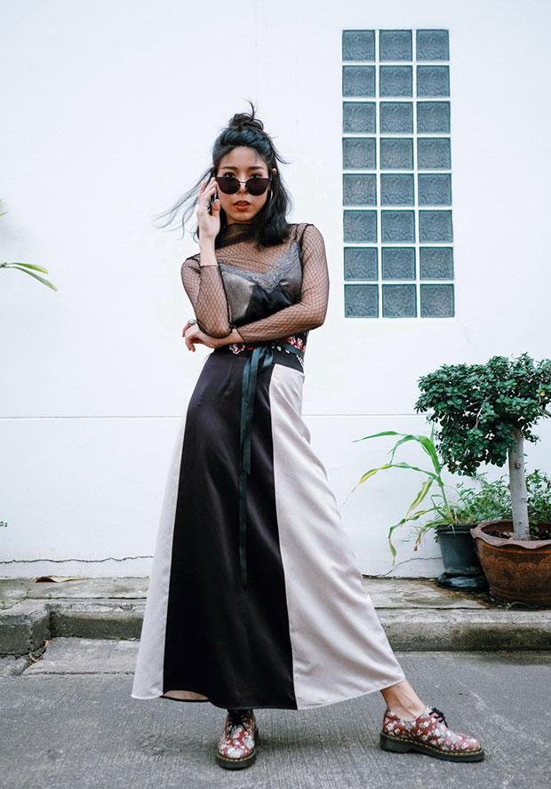 Zaful Blouse, Zara Dress, Greyhound Skirt, Dr. Martens Shoes, MNK Siam Belt
