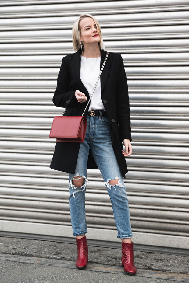 Zara Coat, Levi's Jeans, Agneel Bag, Gucci Belt