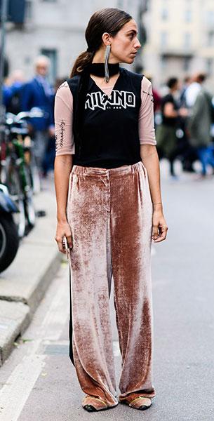 กางเกงกำมะหยี่สีชมพู