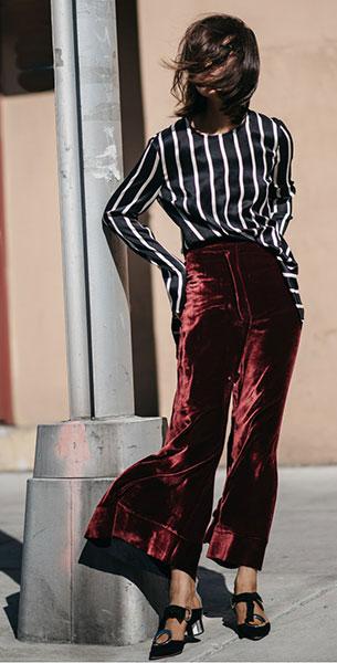 กางเกงกำมะหยี่ Ellery, เสื้อ Third Form, รองเท้า Proenza Schouler