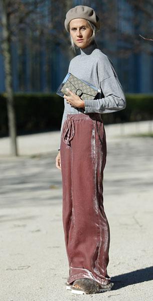 กางเกงกำมะหยี่ Zara, เสื้อ Zara, กระเป๋า Gucci, หมวก Gucci