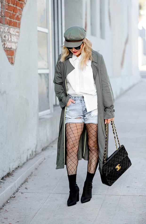 เสื้อโค้ท Loosely, เสื้อเชิ้ต Loosely, กางเกงขาสั้น One Teaspoon, รองเท้าบู๊ท Steve Madden, หมวก Brixton, กระเป๋า Chanel