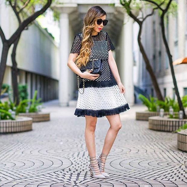 Chicwish Dress, Aquazzura Heels, Chanel Bag, Karen Walker Sunglasses