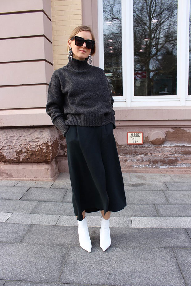 H&M Sweater, Massimo Dutti Skirt, H&M Shoes, Celine Sunglasses, H&M Earrings