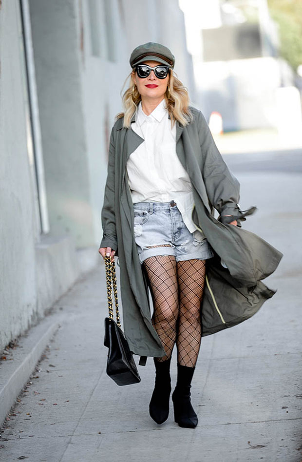 Loosely Trench, Loosely Shirt, One Teaspoon Shorts, Steve Madden Boots, Chanel Bag, Brixton Cap