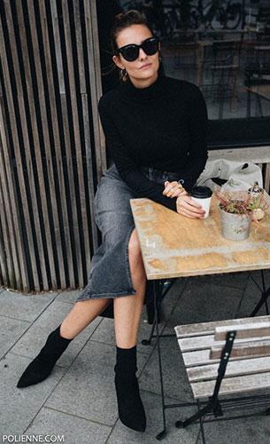 Sock Boots Zara, สเว็ตเตอร์ Zara, เสื้อ Calvin Klein, กระโปรง Calvin Klein, แว่นตากันแดด Celine