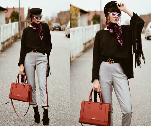 เสื้อ Zara กางเกง Zara รองเท้าบู๊ท Zara กระเป๋า Kadell ผ้าพันคอ Alexander McQueen แว่นตากันแดด ZeroUV