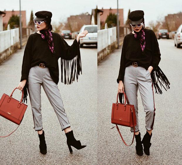 เสื้อ Zara, กางเกง Zara, รองเท้าบู๊ท Zara, กระเป๋า Kadell, แว่นตากันแดด ZeroUV, ผ้าพันคอ Alexander McQueen