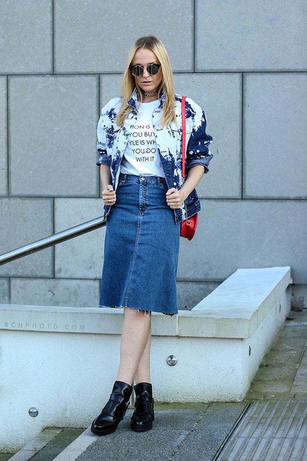 แจ็คเก็ต Forever 21, กระโปรง Zara, รองเท้า Zara, สร้อยคอ Zara, กระเป๋า H&M