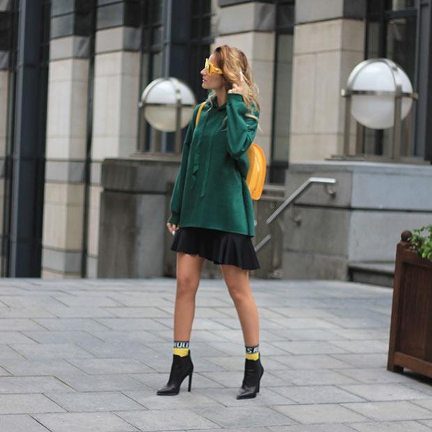 DressLily Sweatshirt, Zara Skirt, Jeffrey Campbell Boots, Zara Backpack, Versace Medusa Sunglasses