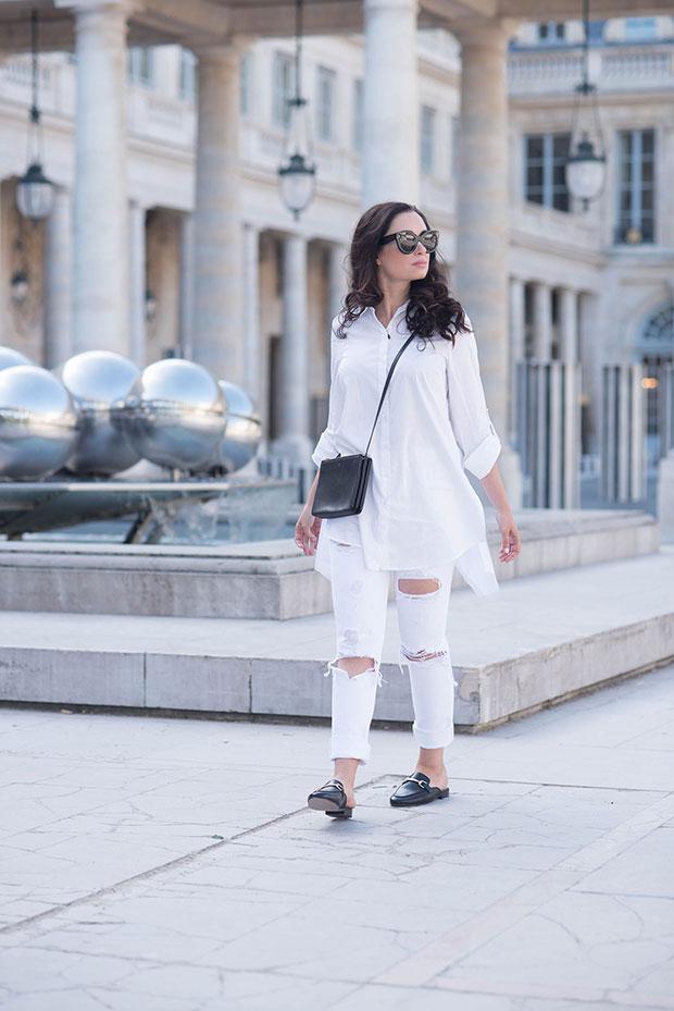 Marled Blouse, Grlfrnd Jeans, Jonak Mules, Celine Bag, Celine Sunglasses