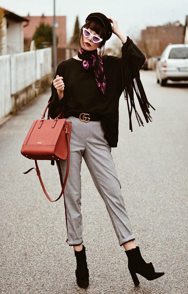 Zara Top, Zara Pants, Zara Booties, Kadell Bag, ZeroUV Sunnies, Alexander McQueen Scarf