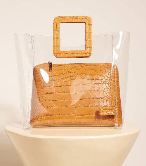 กระเป๋า Staud Shirley Bag Clear Tan