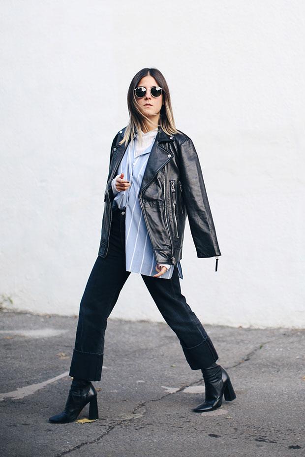 แจ็คเก็ต Zara, เสื้อเชิ้ต H&M, กางเกงยีนส์ Citizens of Humanity, รองเท้าบู๊ท Zara