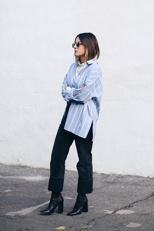 แจ็คเก็ต Zara, เสื้อเชิ้ต H&M, รองเท้าบู๊ท Zara, กางเกงยีนส์ Citizens of Humanity