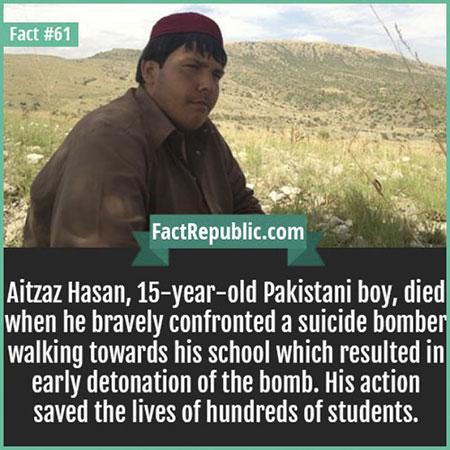 Atizaz Hasan เสียชีวิตเมื่อเขาเผชิญหน้ากับมือระเบิด