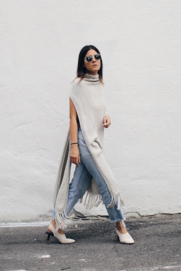 Mango Long Vest, Levi's Jeans, Zara Heels