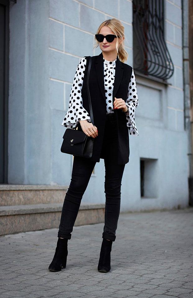 Zara Vest, Romwe Blouse, Topshop Jeans, Stradivarius Boots, Albert Riele Watch