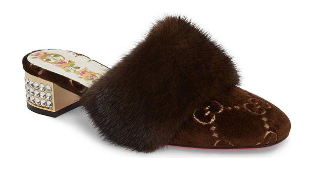 รองเท้าหนังนิ่มขนมิงค์แท้รุ่น Candy ของ Gucci