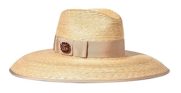 หมวกฟางประดับแพรต่วน Gucci
