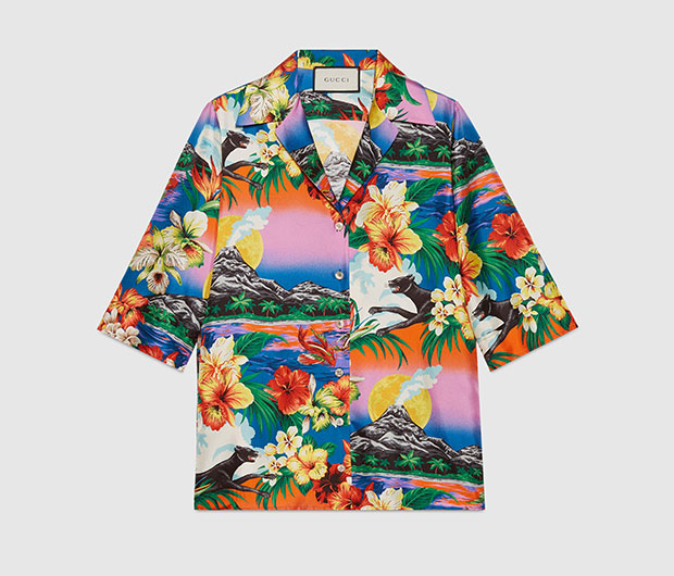เสื้อเชิ้ตผ้าไหมพิมพ์ลาย Gucci