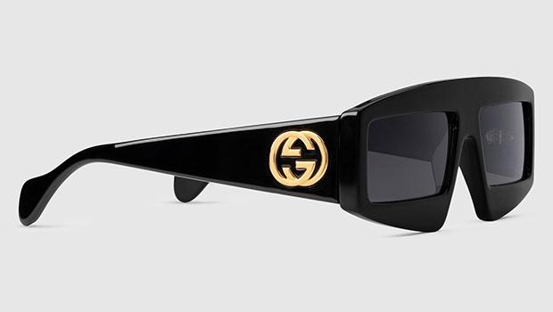 แว่นกันแดด Acetate กรอบสี่เหลี่ยมผืนผ้า Gucci
