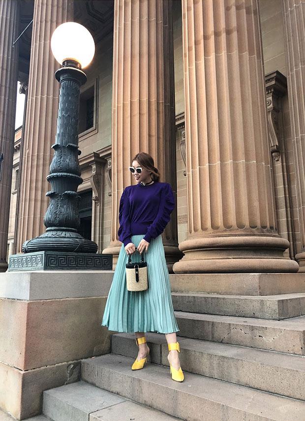 H&M Top, H&M Skirt, Raye Mules, LPA Bag