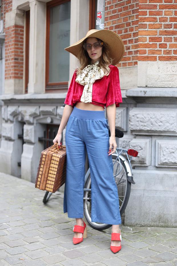 Delphine Top, Airydress Pants, Jacquemus Shoes, Zara Hat