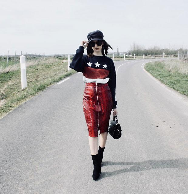 Gémo Sweater, Missguided Skirt, Romwe Boots, Noz Bag, Kiabi Cap