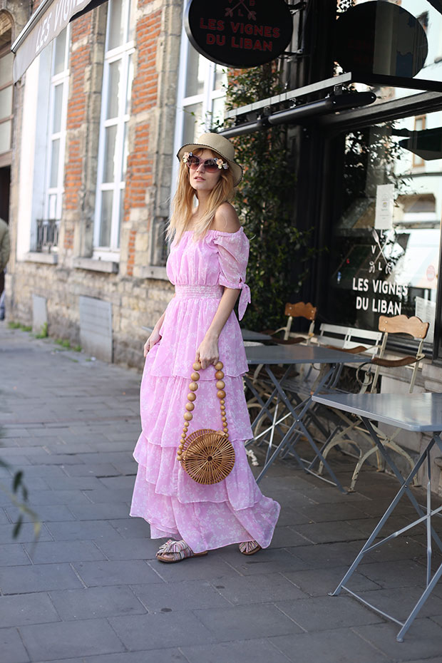 NA KD Dress, Sam Edelman Slides, Cult Gaia Bag, RoseGal Hat
