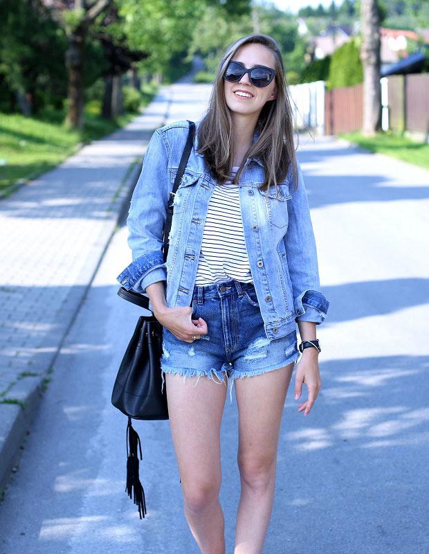 แจ็คเก็ต Reserved, เสื้อ Reserved, กางเกงขาสั้น Zara, รองเท้า Converse