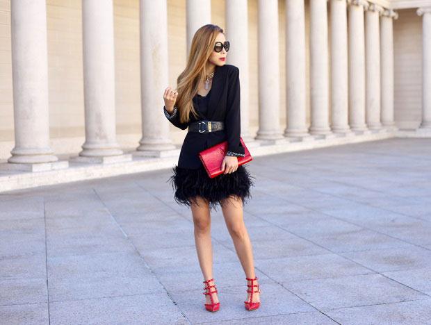 Chelsea28 Blazer, Valentino Heels, Saint Laurent Clutch, Prada Sunglasses