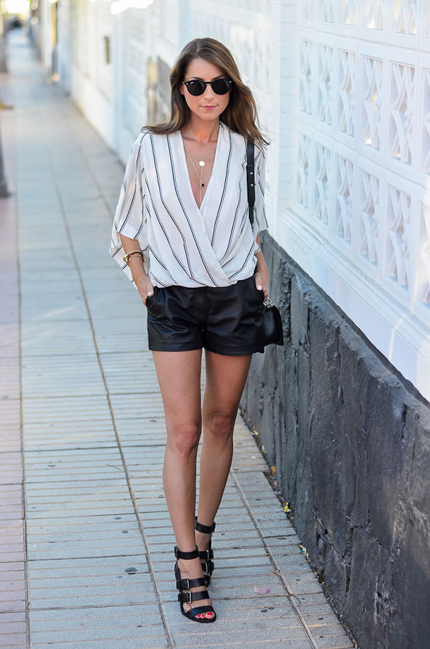 Free People Top, Reserved Shorts, Zara Sandals, Chanel Bag, Zara Necklace