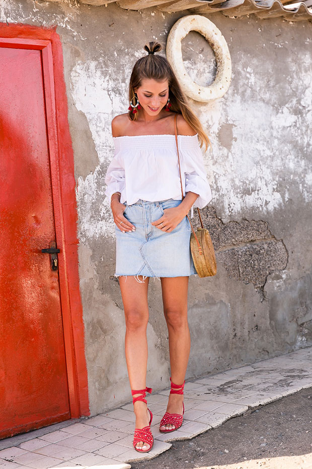 H&M Blouse, Bershka Skirt, Maje Sandals, Kokokarma Bag, Pull & Bear Earrings