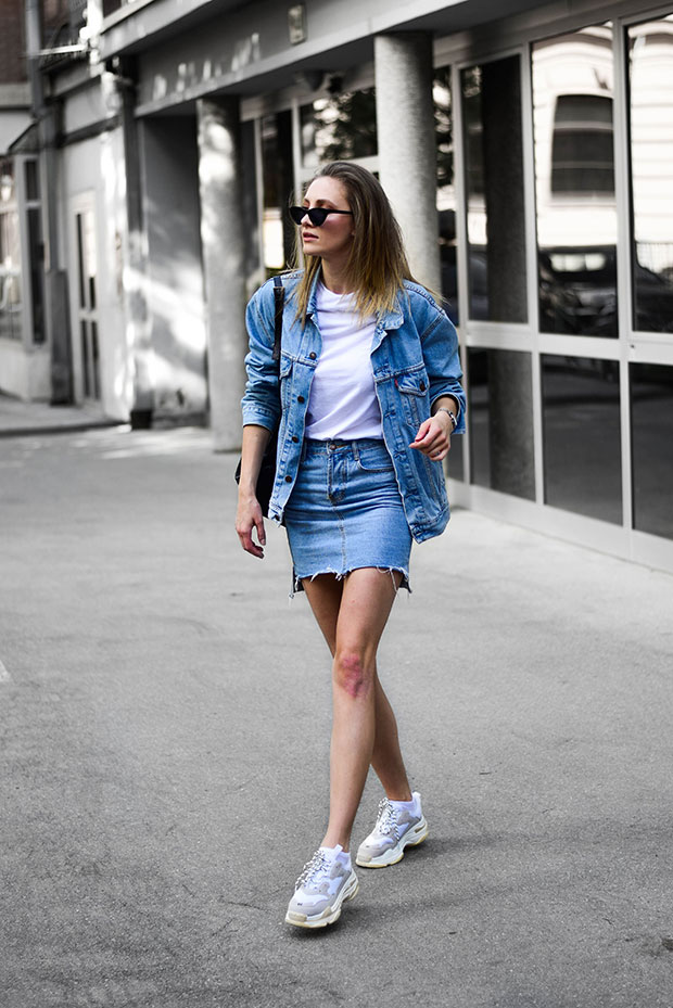 Levi's Jacket, Jessica Buurman Sneakers, Anine Bing Backpack, Rosefield Sunglasses