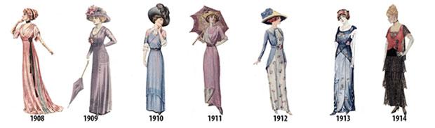 ลำดับเหตุการณ์แฟชั่นสตรีตั้งแต่ปี 1908 1914