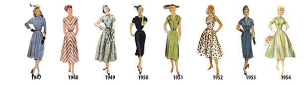 ลำดับเหตุการณ์แฟชั่นสตรีตั้งแต่ปี 1947 1954